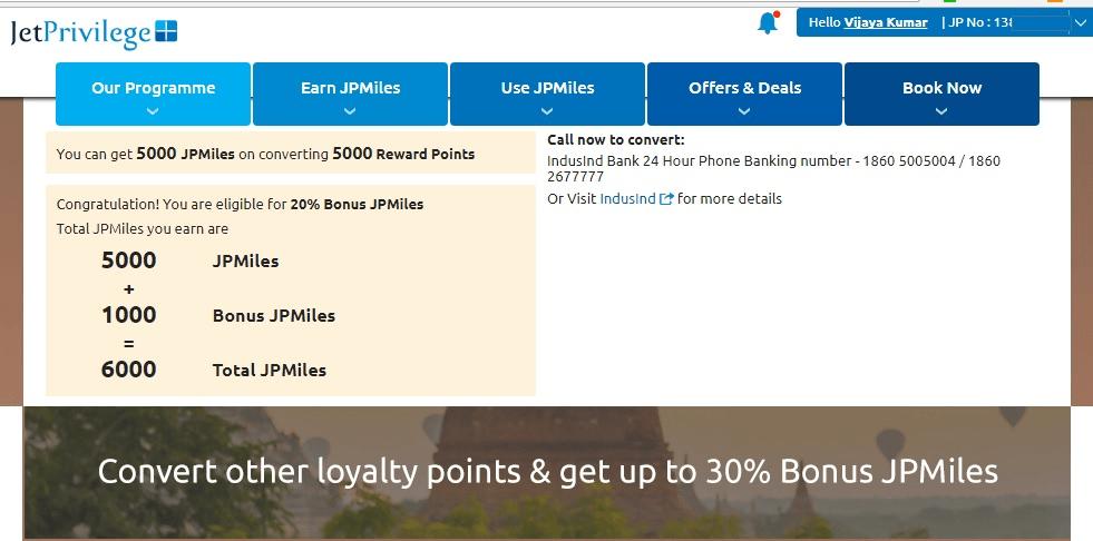 JetPrivilege Transfer Points