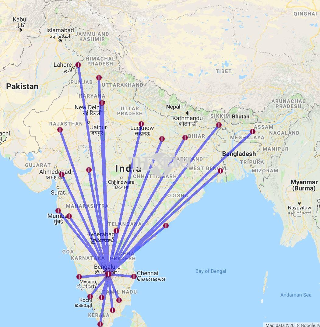 Jet Airways - Bengaluru Route Map