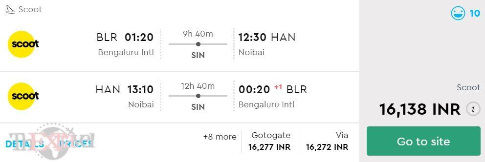 Bengaluru to Hanoi