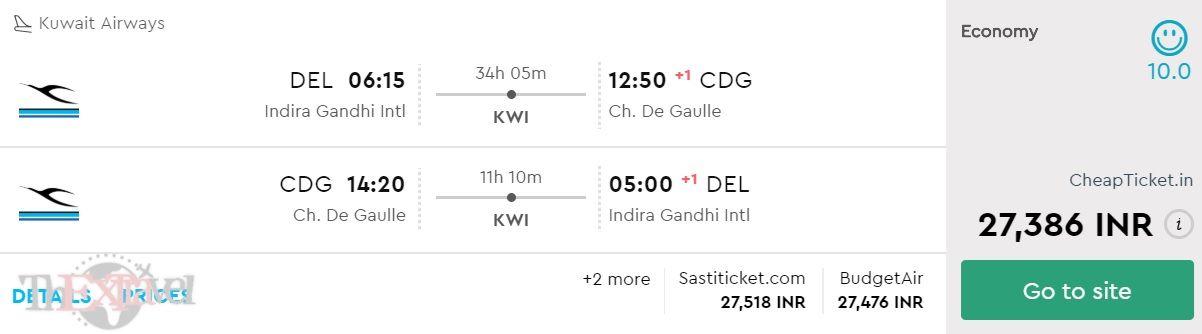 Delhi to Paris