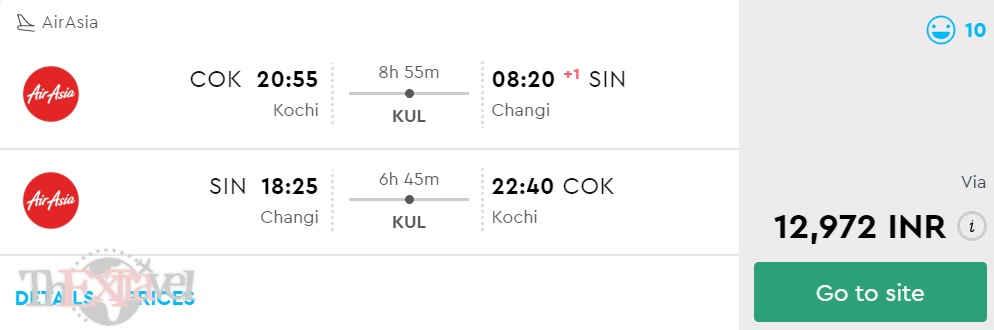 Kochi to Singapore