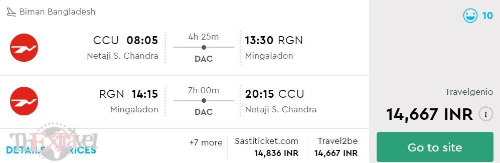 Kolkata to Yangon