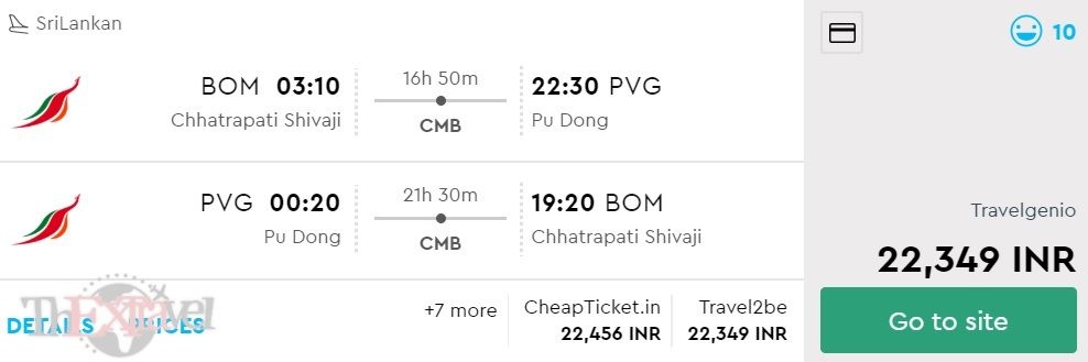 Mumbai to Shanghai