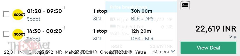 Bengaluru to Bali (Denpasar)