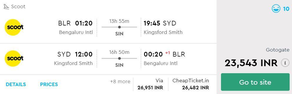 Bengaluru to Sydney