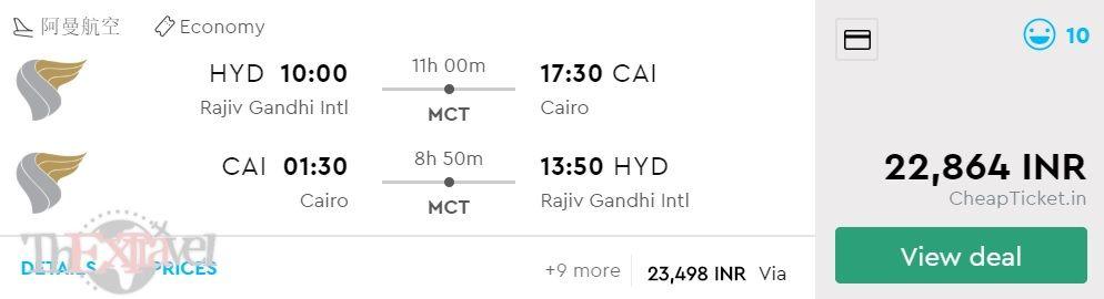 Hyderabad to Cairo