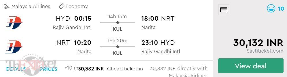 Hyderabad to Tokyo