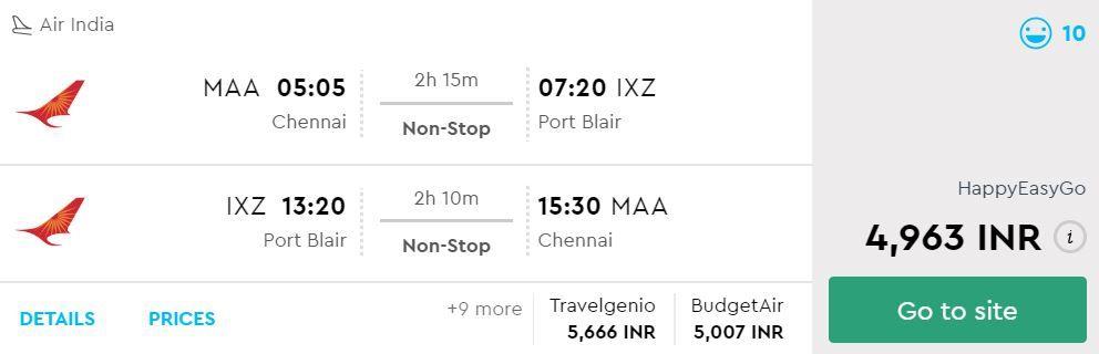 Chennai to Port Blair