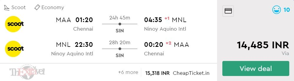 Chennai to Manila