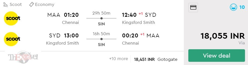 Chennai to Sydney