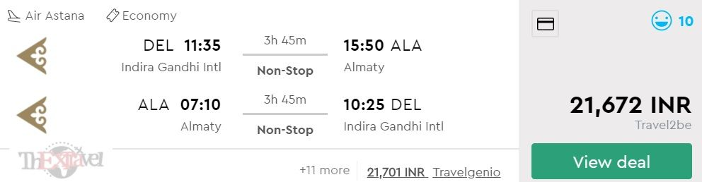 Cheap flights from Delhi to Almaty for ₹ 21672 ($ 300