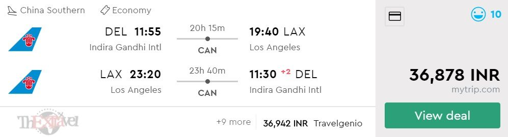 Delhi to Los Angeles