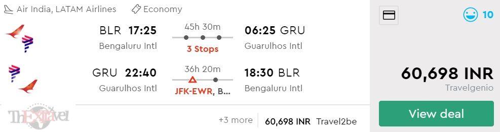 Bengaluru to Sao Paulo