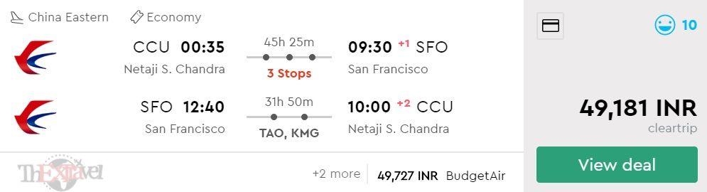 Kolkata to San Francisco